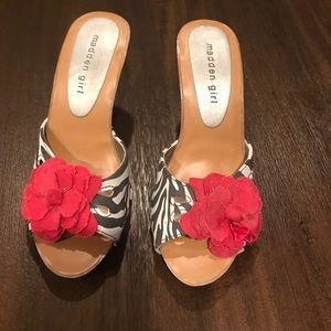 Madden girl zebra print with flower heels